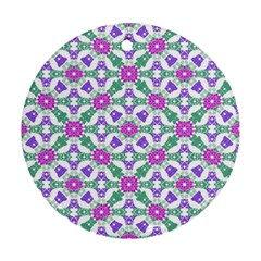 Multicolor Ornate Check Ornament (round) by dflcprints