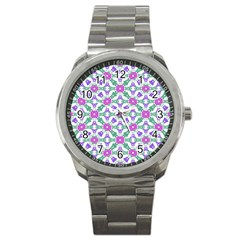 Multicolor Ornate Check Sport Metal Watch by dflcprints