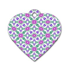 Multicolor Ornate Check Dog Tag Heart (two Sides) by dflcprints