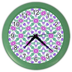 Multicolor Ornate Check Color Wall Clocks by dflcprints