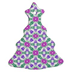 Multicolor Ornate Check Christmas Tree Ornament (two Sides) by dflcprints