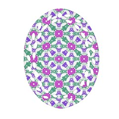 Multicolor Ornate Check Oval Filigree Ornament (two Sides) by dflcprints