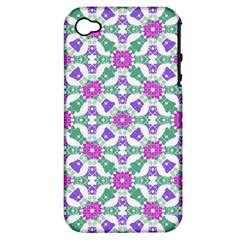 Multicolor Ornate Check Apple Iphone 4/4s Hardshell Case (pc+silicone) by dflcprints