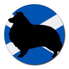 Shetland Sheepdog Silhouette Scotland Flag Round Mousepads by TailWags