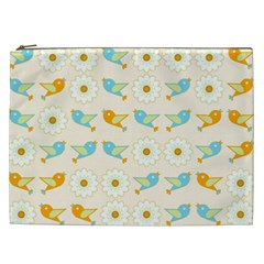 Birds And Daisies Cosmetic Bag (xxl)  by linceazul