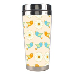 Birds And Daisies Stainless Steel Travel Tumblers by linceazul