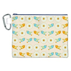 Birds And Daisies Canvas Cosmetic Bag (xxl) by linceazul