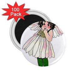 Daisy Vintage Flower Child Cute Funny Floral Little Girl 2 25  Magnets (100 Pack)  by yoursparklingshop