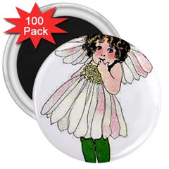 Daisy Vintage Flower Child Cute Funny Floral Little Girl 3  Magnets (100 Pack) by yoursparklingshop