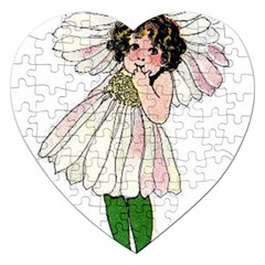 Daisy Vintage Flower Child Cute Funny Floral Little Girl Jigsaw Puzzle (heart) by yoursparklingshop