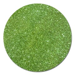Green Glitter Abstract Texture Magnet 5  (round) by dflcprints