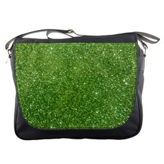 Green Glitter Abstract Texture Messenger Bags by dflcprints