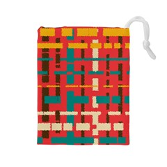 Colorful Line Segments Drawstring Pouches (large)  by linceazul