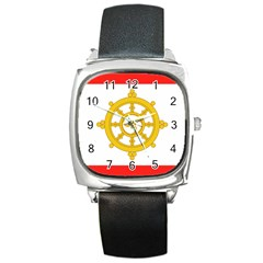 Flag Of Sikkim, 1967 1975 Square Metal Watch by abbeyz71
