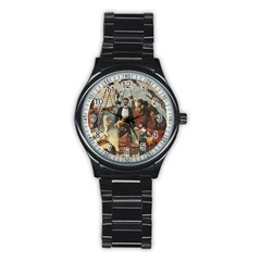 Dog Circus Stainless Steel Round Watch by Valentinaart