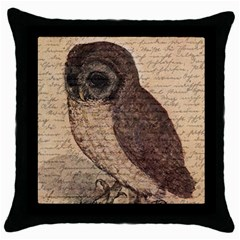 Vintage Owl Throw Pillow Case (black) by Valentinaart