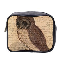 Vintage Owl Mini Toiletries Bag 2 Side by Valentinaart