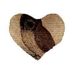 Vintage Owl Standard 16  Premium Flano Heart Shape Cushions by Valentinaart