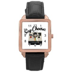 Say Cheese Rose Gold Leather Watch  by Valentinaart