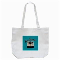 Say Cheese Tote Bag (white) by Valentinaart