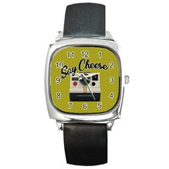 Say Cheese Square Metal Watch by Valentinaart
