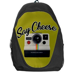 Say Cheese Backpack Bag by Valentinaart