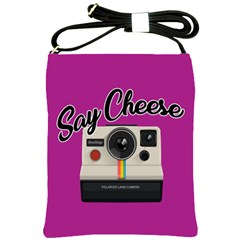Say Cheese Shoulder Sling Bags by Valentinaart