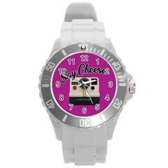 Say Cheese Round Plastic Sport Watch (l) by Valentinaart