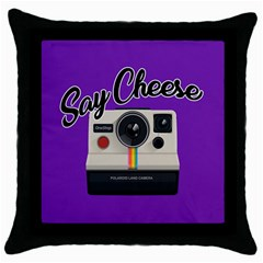 Say Cheese Throw Pillow Case (black) by Valentinaart