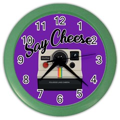 Say Cheese Color Wall Clocks by Valentinaart