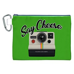 Say Cheese Canvas Cosmetic Bag (xxl) by Valentinaart