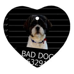 Bad Dog Heart Ornament (two Sides) by Valentinaart