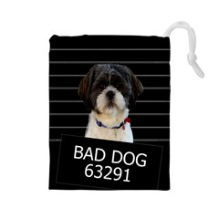 Bad Dog Drawstring Pouches (large)  by Valentinaart