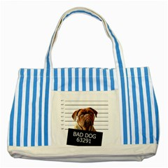 Bad Dog Striped Blue Tote Bag by Valentinaart