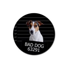 Bad Dog Rubber Coaster (round)  by Valentinaart
