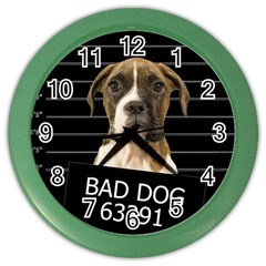 Bad Dog Color Wall Clocks by Valentinaart
