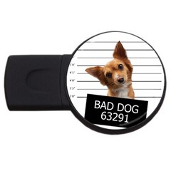 Bad Dog Usb Flash Drive Round (4 Gb) by Valentinaart