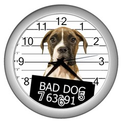 Bad Dog Wall Clocks (silver)  by Valentinaart