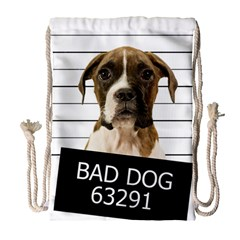 Bad Dog Drawstring Bag (large) by Valentinaart