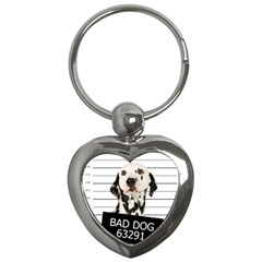 Bad Dog Key Chains (heart)  by Valentinaart