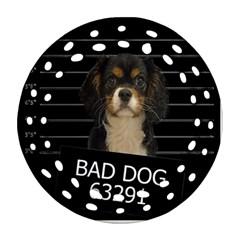 Bad Dog Ornament (round Filigree) by Valentinaart