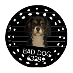 Bad Dog Round Filigree Ornament (two Sides) by Valentinaart