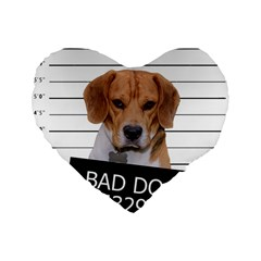 Bad Dog Standard 16  Premium Heart Shape Cushions by Valentinaart