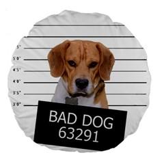 Bad Dog Large 18  Premium Flano Round Cushions by Valentinaart