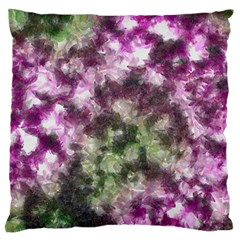 Purple Green Paint Texture    Large Flano Cushion Case (two Sides) by LalyLauraFLM