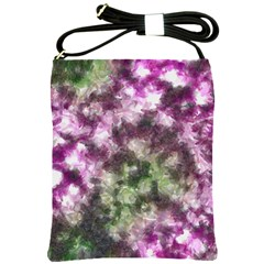 Purple green paint texture          Shoulder Sling Bag by LalyLauraFLM