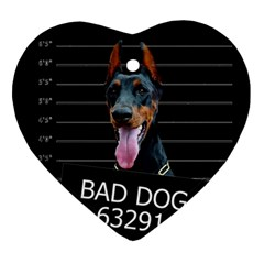 Bad Dog Ornament (heart) by Valentinaart