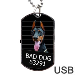 Bad Dog Dog Tag Usb Flash (two Sides) by Valentinaart