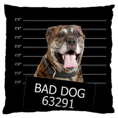 Bad Dog Large Flano Cushion Case (one Side) by Valentinaart