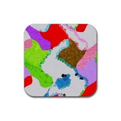 Painted Shapes            Rubber Square Coaster (4 Pack by LalyLauraFLM